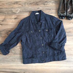 Eileen Fisher Organic Linen Blue Denim Jacket